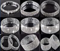 Wholesale Stretchy Bling Bracelets - 1-10 Row Crystal Rhinestone Wedding Party Stretchy Bracelet Bling Wristband Women Jewelry Free Ship [B414A-B489 M*1]