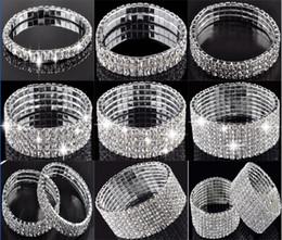 Wholesale stretchy rhinestone bracelets - 1-10 Row Crystal Rhinestone Wedding Party Stretchy Bracelet Bling Wristband Women Jewelry Free Ship [B414A-B489 M*1]