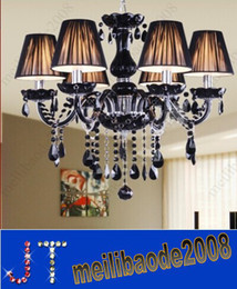 Wholesale Crystal Black Chandelier Lamp - European Lamp Black Crystal Candle Chandelier 3 4 6 8 9 10 12 15 Heads Pendant Lights with Lampshade Hotel Dinning Room Villa Light HSA083