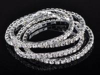 Wholesale Stretchy Bling Bracelets - 925 silver 20pcs 1 ROW Crystal Rhinestone Wedding Party Stretchy Bracelet Bling Wristband [B417A*12]