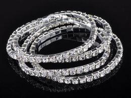 Wholesale 12 Rows Rhinestone - 925 silver 20pcs 1 ROW Crystal Rhinestone Wedding Party Stretchy Bracelet Bling Wristband [B417A*12]