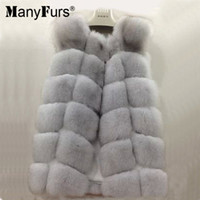 Wholesale Real Fur Pieces - ManyFurs 100% real natural Fox fur vest women winter slim luxurious furs vest only two piece lowest price