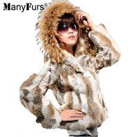 Wholesale Hooded Rabbit Fur - ManyFurs New 2016 100% Real rabbit women's fur short fur coat With a large raccoon fur collar hat