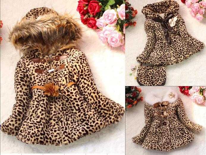 c939207a8 Retail Girls Leopard Faux Fox Fur Collar Coat Clothing Spring Autumn ...