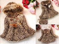 Wholesale girls faux leopard coat - Retail Girls Leopard faux fox fur collar coat clothing Spring Autumn Winter wear Clothing baby Children outerwear Girl Warm Hooded Jacket