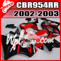 Wholesale Cbr954rr Plastics - Welmotocom Aftermarket Injection Mold Fairings For Honda CBR954RR CBR 954 RR CBR 954RR 2002 2003 02 03 Red Black H95W26+5 Free Gifts