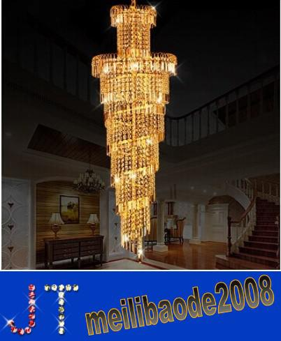 Dia 45/Dia 60cm European K9 Crystal Spiral Stair Chandelier Ceiling Light Golden Color Modern Lamp Long Pendant Light Hotel Villa HSA085
