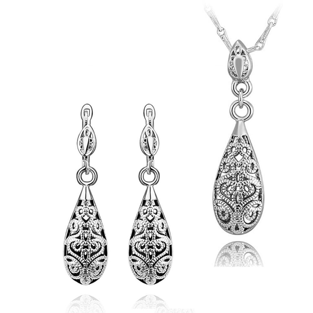 2014 nuovi orecchini di collana placcati oro 18 carati di modo Set di gioielli di trasporto libero regali di Natale le donne