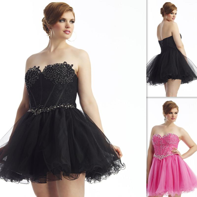 2015 Classy Black Short Plus Size Prom Dresses Sweetheart Ball Gown
