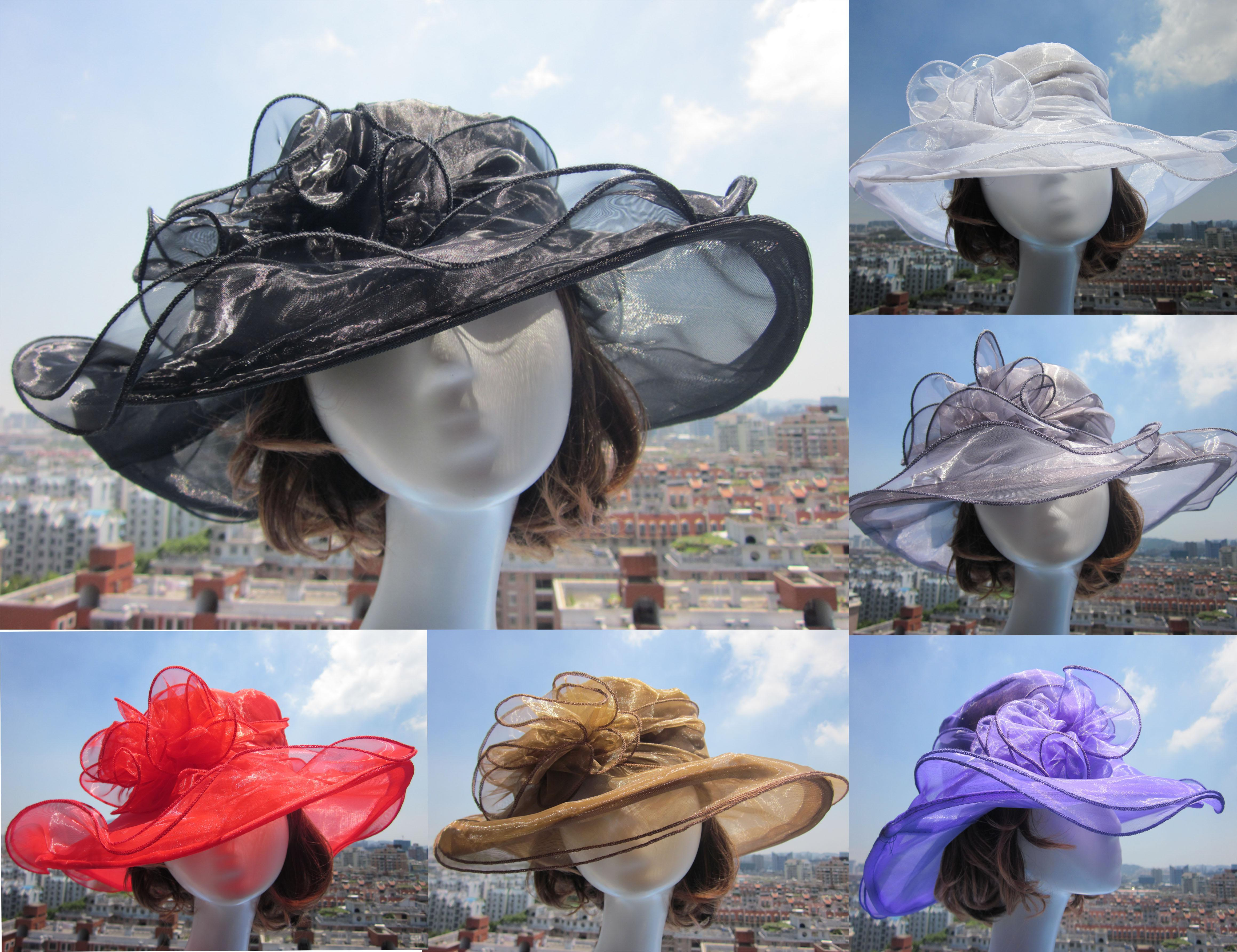 숙녀 Organza 모자 켄터키 더비 웨딩 교회 드레스 차 파티 꽃 일 여름 해변 모자 A002