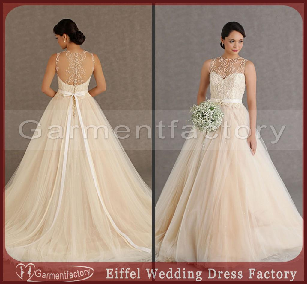 2017 Latest Design Ball Gown Wedding Dresses Sheer Bateau Covered