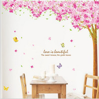 Wholesale Tree Mural Pink Flowers - Free Shipping Large Pink Sakura Flower Cherry Blossom Tree Wall Sticker Decals PVC Removable Wall Decal for Home Decor(220*210cm )