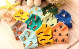 Wholesale Wholesale Invisible Ankle Socks Women - 5 pairs Foreign trade Fruit socks cotton socks invisible socks Lovely cartoon socks fruit, both men and women