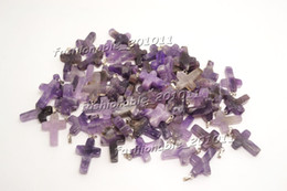 Wholesale Pendant Loose Beads - Wholesale Lots Jewelry Natural Amethyst Stone Cross Pendants Loose Beads Fit Bracelets and Necklace Charms DIY #B139