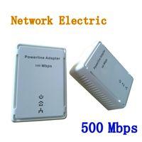 Wholesale Powerline Homeplug Av - 2pcs lot 500Mbps Powerline Adapter Network Extender Homeplug AV Kit US EU Plug Computer & Networking DHL Free shipping