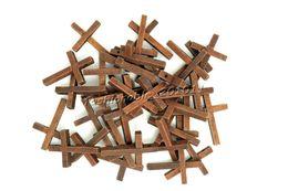 Бесплатные оптовые партии 100 шт. крест деревянные бусины подвески Fit ожерелье браслет подвески новый B65 от