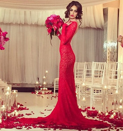 Wholesale Cowl Neck Prom Dress - Red Arabic 2014 Lace Backless Wedding Dresses Sheath Bateau Neck Sweep Train Formal Evening Dresses Long Prom Gowns With Long Sleeves