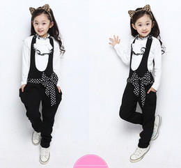 Wholesale Korea Fashion Winter Coat - 4 colors autumn new korea style fashion girls sets with bow childrens The princess two-piece overalls kids coat dot freeshipping