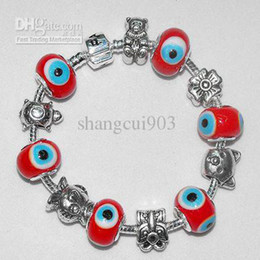 Wholesale Silver Chain Turkey - Hot sale 925 Silver Links chain fit 6 light RED Turkey Eyes beads and metals bracelets PAN002