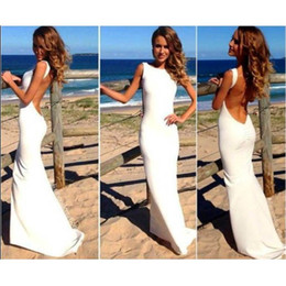 2017 moda elegante branco prom dress mulheres long maxi dress magro backless saia de praia verão sexy bodycon party dress ladies girl py16