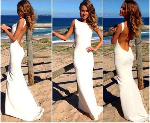 2017 elegant mode vit prom klänning kvinnor lång maxi klänning smal backless beach kjol sommar sexig bodycon party klänning damer tjej py16