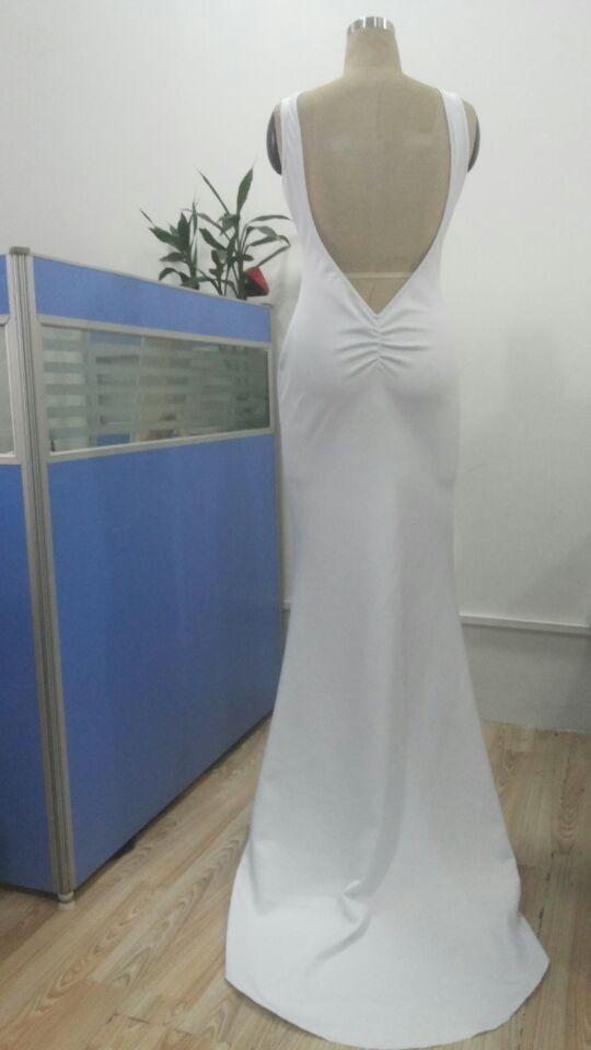 2017 الأزياء الأنيقة الأبيض prom اللباس المرأة فستان طويل ماكسي سليم عارية الذراعين شاطئ تنورة الصيف مثير bodycon حزب اللباس السيدات فتاة PY16