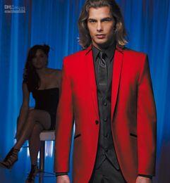 Wholesale Men Red Notch Lapel Vest - Custom Made Red Jacket and Black Pants Groom Tuxedos Best Man Groomsman Men Wedding Suits Bridegroom (Jacket+Pants+Vest+Tie) SS8