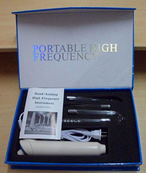 Portablel sistema de máquina de electrodos violeta facial de control de acné de Ray Facial de alta frecuencia con 4 electrodos