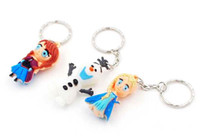 Wholesale Toys Ana - Free shipping Frozen keychains key chains 100 pcs lot Elsa Ana Olaf sven 3D toys bag hangers party supply decorations kids gifts