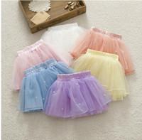 Wholesale Children Cute Underwear - Spring Fall Baby Ball Gown Skirt Cute Sweet Candy Colour Toddler Girl Tutu Skirt Kids Short Skirts Net Yarn Pearl Child Underwear GX560