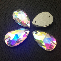Wholesale Sew Crystal Glass - Teardrop Sew On Stone Crystal AB Droplet Sewing Glass Crystals 7x12mm 10.5x18mm 13x22mm 17x28mm 16x25mm 22x38mm