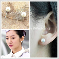 Wholesale Round Silver Ball Earring - 2014 New Design Exquisite 6mm Pearl Bridal Jewelry Online Sale Free Shipping Wedding Ear Studs Prom Party Event Earing Evenning Accessories