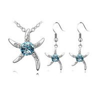 Wholesale Cheap Starfish Earrings - starfish earring necklace jewelry set cheap crystal jewellery factory price free shipping AS-24