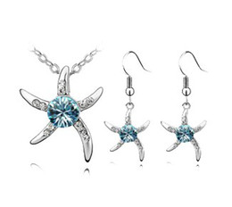 Wholesale Jewellery Earrings Price - starfish earring necklace jewelry set cheap crystal jewellery factory price free shipping AS-24