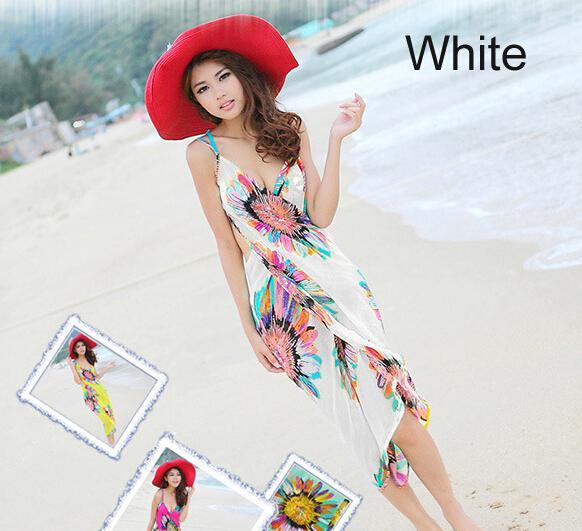Mode femmes robes sans dos bohême en mousseline de soie fleur robe de plage serviette de plage vêtements longue écharpe