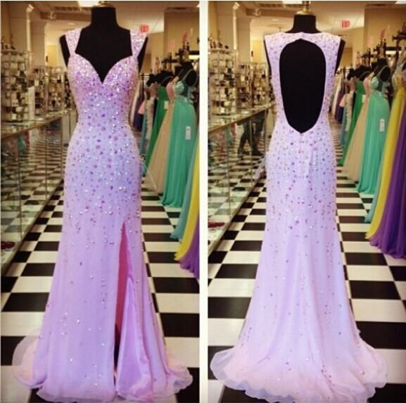 Luxurious Prom Gowns Crystals With Rhinestones Formal Evening Dresses Cut Out Backless vestidos de noiva Fast Shipping