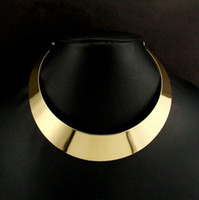 Wholesale american curves - 2pcs CHic Ladies Gold Tone Curved Mirrored Metal Choker Collar Mottled Statement Necklace Free Ship [N91*2]