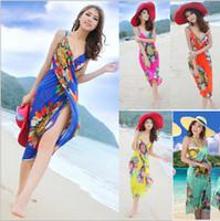 Wholesale Chiffon Dress Long Scarf - Fashion women backless dresses bohemia chiffon flower beach dress towel beachwear clothing long scarf 6colors