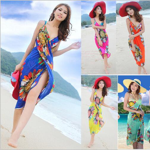 Mode femmes robes sans dos bohême en mousseline de soie fleur robe de plage serviette de plage vêtements longue écharpe 6colors