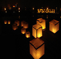 Wholesale Chinese Floating Lantern - Paper Lanterns Water Floating Light Square Chinese Lanterns Water Blessing Light Festival Floating Wishing Water Candle Lights