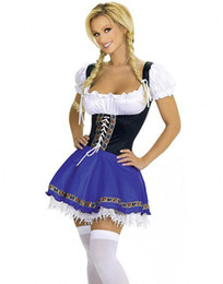 Wholesale Maid Costumes Free Shipping - Free Shipping Women Oktoberfest Beer Carnival Wench Maid Costume Outfit Fancy Dress Halloween LKH2055