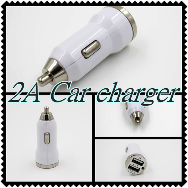 Dual USB Car Charger Adapter Bullet Double USB 2-Port 1A 2A 2.1A for mobile phones Samsung Galaxy S4 S5 Note 2 3