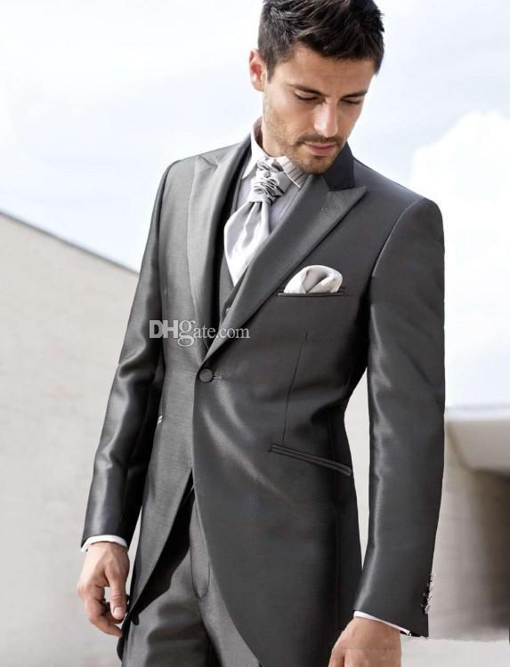 Custom Made One Button Dark Grey Groom Tuxedos Peak Lapel Best Man ...