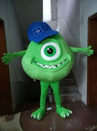 Wholesale Mike Wazowski Mascot Costume - with one mini fan inside the head WR210 mike wazowski mascot costume for adult to wear