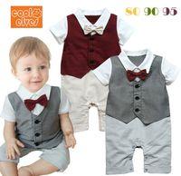 Wholesale Baby Lapel Romper - The New Summer Short Sleeve Baby Gentleman Romper Lapel Bow-Tie Boy Dress Romper Toddler Jumpsuit Infatn Clothes 80-95 6pcs lot GX563