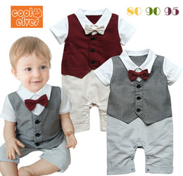 Wholesale Toddler Striped Bow Ties - The New Summer Short Sleeve Baby Gentleman Romper Lapel Bow-Tie Boy Dress Romper Toddler Jumpsuit Infatn Clothes 80-95 6pcs lot GX563