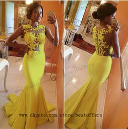 Wholesale Silver Fuschia Prom Dresses - 2016 Yellow White Fuschia Evening Dresses Lace Applique Jewel Neck Zipper Back Mermaid Prom Party Dresses Wear Custom Made Formal Dresses
