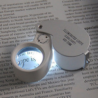 Wholesale Eye Jewellery - LED Jewellers Loupe 40 x 25mm Glass Jewellery Magnifier Hallmark Eye LED Light