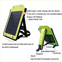 Wholesale 5w Solar Panel Charger - High power 5W 6V Portable outdoor Folding solar charging bag solar panel charger power bank For Mobilephone Power Bank MP3 4 Camera PSP