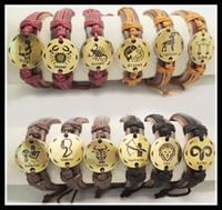 Wholesale zodiac symbols animals - 2014 new fashion handmade 12 constellations zodiac symbol genuine leather bracelet ,animal sing bracelet for Men & Women gifts 48pcs 1043#
